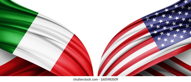 Italy and American flag of silk with copyspace for your text or images and white background -3D illustration