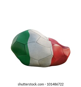 italy deflated soccer ball isolated on white