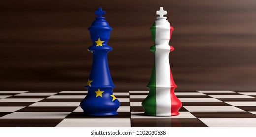Italy and EU relations, Italexit concept. European Union and Italy flags on chess kings on a chess board, wooden background. 3d illustration