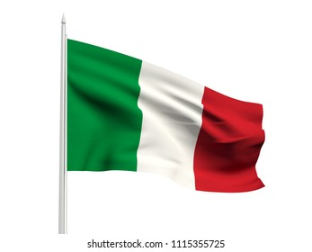 Italy flag floating in the wind with a White sky background. 3D illustration.