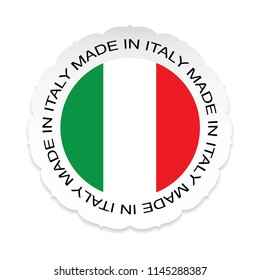 Italy Flag .Italy national official colors, Made in Italy on a white background