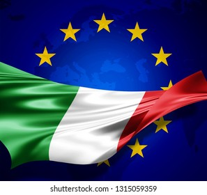 Italy  flag of silk with copyspace for your text or images and european union flag background-3D illustration