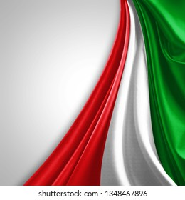 Italy flag of silk with copyspace for your text or images and White background-3D illustration