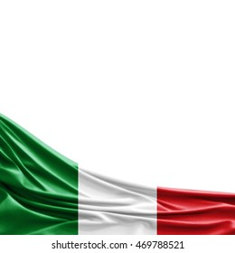 Italy flag of silk with copyspace for your text or images-3D illustration