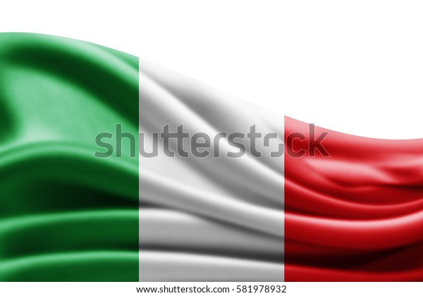 Italy flag of silk with copyspace for your text or images and white background -3D illustration