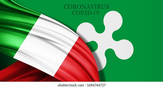 Italy flag of silk and Lombardy flag with text coronavirus covid-19 -3D illustration