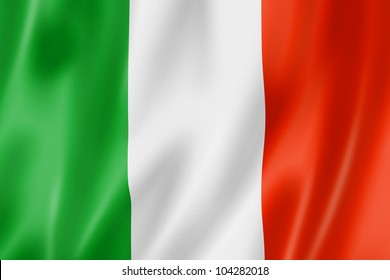 Italy flag, three dimensional render, satin texture