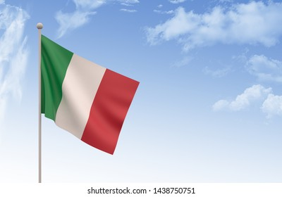 Italy Flag Waving with blue sky, 3D illustration, Italy day concept,3d render, Italian Flag,