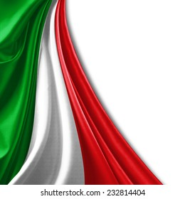 Italy flag and white background