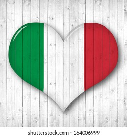 Italy  flag,heart-shaped,  wood background