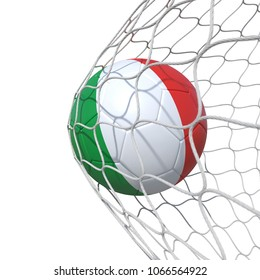 Italy Italian flag soccer ball inside the net, in a net. Isolated on white background. 3D Rendering, Illustration.