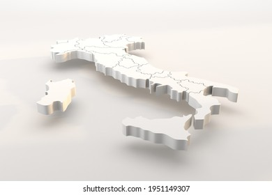 Italy map a 3d render isolated with white italian regions. Italia in zona bianca, pandemia, covid