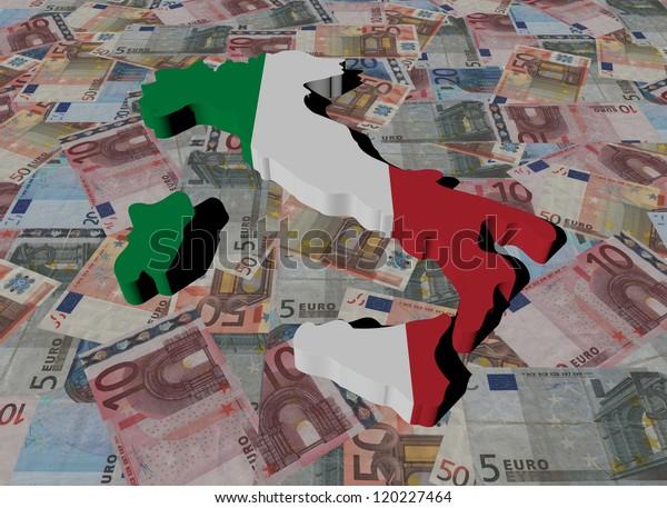 Italy Map flag on Euros illustration