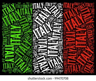 Italy National Country Flag Symbol info-text graphics and arrangement concept on black background