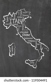 Italy on blackboard