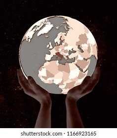Italy on globe in hands in space. 3D illustration.