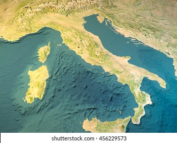 Italy, physical map, satellite view, map, 3d rendering. Element of this image are furnished by NASA