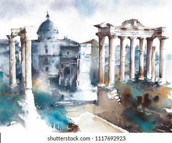Italy Rome landmark Forum ancient buildings ruins watercolor painting illustration travel destination