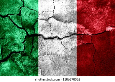 Italy rusted texture flag, rusty background, earthquake consequences concept