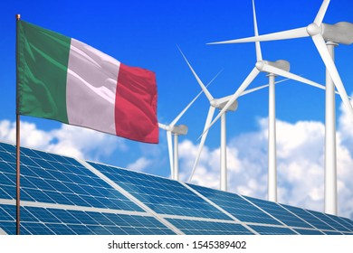 Italy solar and wind energy, renewable energy concept with windmills - renewable energy against global warming - industrial illustration, 3D illustration
