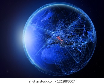 Italy from space on planet Earth with blue digital network representing international communication, technology and travel. 3D illustration. Elements of this image furnished by NASA.