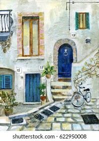 Italy street handmade oil painting picture
