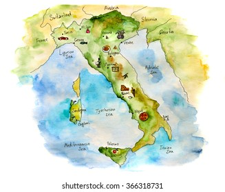 Italy with its symbols, hand drawn watercolor illustration