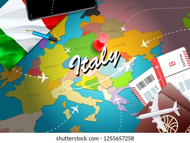 Italy travel concept map background with planes, tickets. Visit Italy travel and tourism destination concept. Italy flag on map. Planes and flights to Italian holidays to Rome,Milan