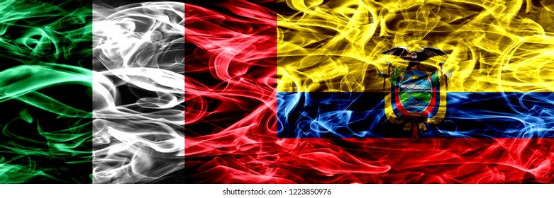 Italy vs Ecuador, Ecuadorian smoke flags placed side by side. Thick abstract colored silky smoke flags