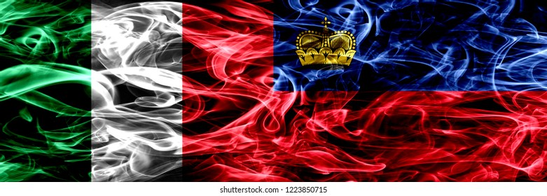 Italy vs Liechtenstein, Liechtensteins smoke flags placed side by side. Thick abstract colored silky smoke flags