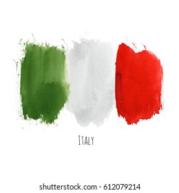 Italy watercolor national country flag icon. Hand drawn illustration with colorful dry brush stains, strokes and spots isolated on white background. Painted grunge style.
