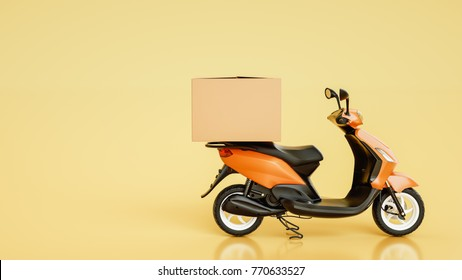 Item boxes are on motorcycles. 3d rendering and illustration.