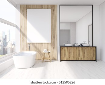 Iterior of bathroom with mirror, bath tub, table with towels and sink. Large vertical poster on wall, panoramic window. 3d rendering. Mock up