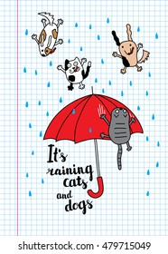 """It's raining cats and dogs"" autumn card. Falling raindrops and umbrella with cats and dogs. Bright autumn postcard."