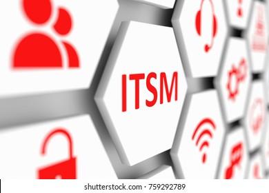 ITSM concept cell blurred background 3d illustration