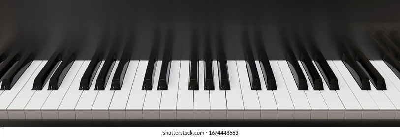 ivories and fragment of the case of a black piano in horizontal photography. 3D rendering