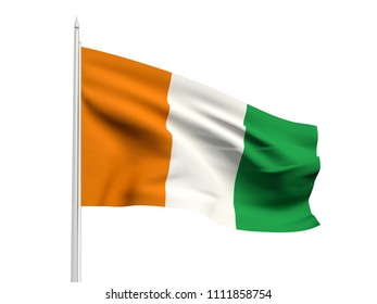 Ivory Coast flag floating in the wind with a White sky background. 3D illustration.