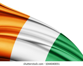 ivory coast  flag of silk with copyspace for your text or images and white background-3D illustration