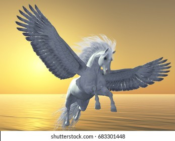 Ivory Pegasus 3d illustration - Pegasus is a mythical white divine horse with long flowing mane and tail rises into the sky with powerful wings beats.