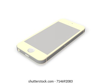 Ivory Smartphone Mockup with Empty Screen for Design Project - Mock Up 3D illustration Isolate on White Background