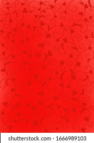 Ivy with hear flora on red background for decoration on wedding and Valentine's day.