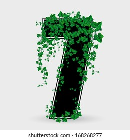 Ivy Leaf Decorated Number Seven Illustration