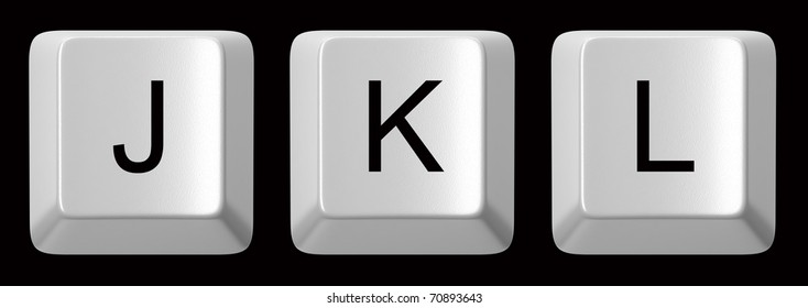 J, K, L white computer keys alphabet