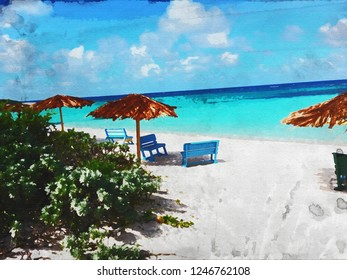 Jack Bay Point Anegada Double Watercolor Texture