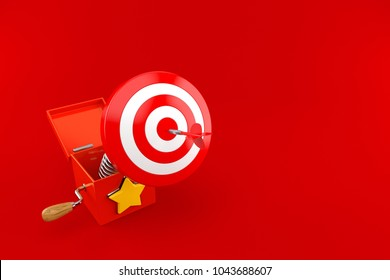 Jack in the box with bull's eye isolated on red background. 3d illustration