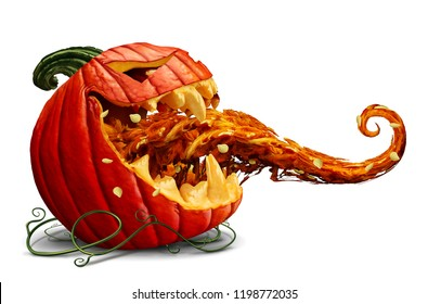 Jack o lantern promotion as a scary and funny halloween pumpkin with an open mouth and tongue sticking out on a white background as an autumn seasonal marketing symbol with 3D illustration elements.