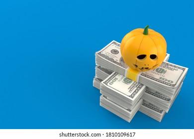 Jack o'lantern on stack of money isolated on blue background. 3d illustration