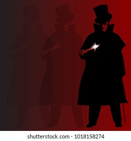 A Jack the Ripper background with shadowa and silhouette over a red background