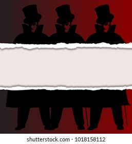 A Jack the Ripper background with shadows and ripp and silhouette over a red background
