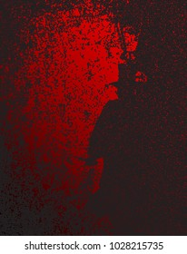 Jack the Ripper depicred in black and dark red